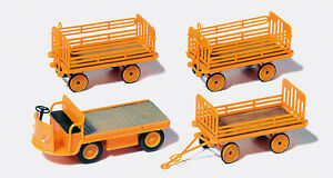 Preiser-17120-Gauge-H0-Figurines-Electric-Cart-With-3-Trailers-New-IN-Boxed