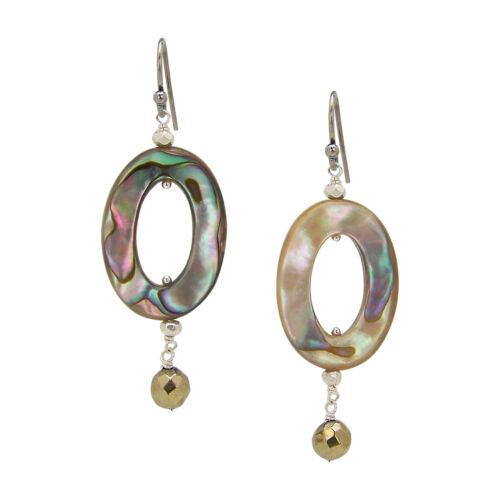 Chan Luu Open Oval Silver Dangle Earrings in Abalone and Pyrite