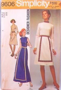 1970s-Dress-Sewing-Pattern-Simplicity-9606-Size-14-36-Fashion-Designer-Uncut