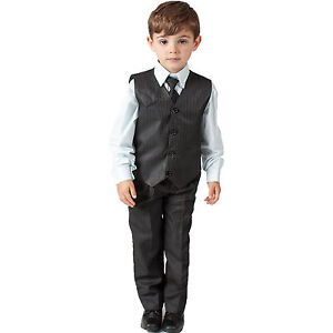 Image Is Loading Boys Suits 4 Piece Pinstripe Waistcoat Suit Wedding