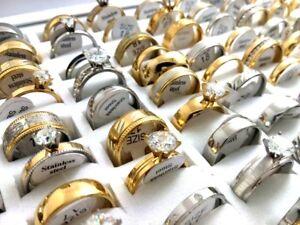 50x Mix Hommes Femmes Zircon Strass Stainelss Steel Zircone Cubique De Mariage Bagues De Fiançailles-afficher Le Titre D'origine ArôMe Parfumé