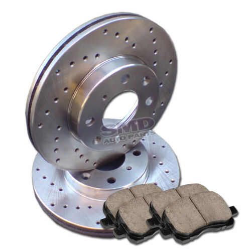 A0273 FIT 2000 2004 2005 2006 Nissan Sentra 1.8L FRONT Drilled Brake Rotors Pads