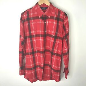 Vintage-Woolrich-Flannel-Plaid-Shirt-Mens-Button-Front-Red-Lumberjack-Cotton-M