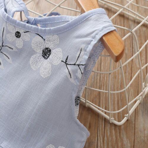 Fashion Baby Kids Girl Blue Sleeveless Flower Print Dress Princess Dresses
