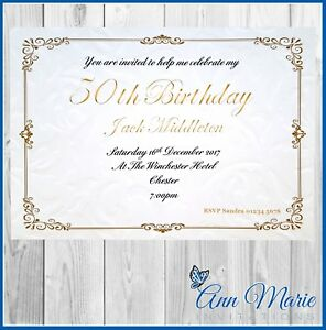 Image Is Loading 10 X PERSONALISED 50th BIRTHDAY PARTY INVITATION CARDS
