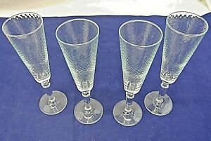 CHAMPAGNE-GLASSES-DIMPLED-GLASS-LOT-OF-4-UNKNOWN-MAKER