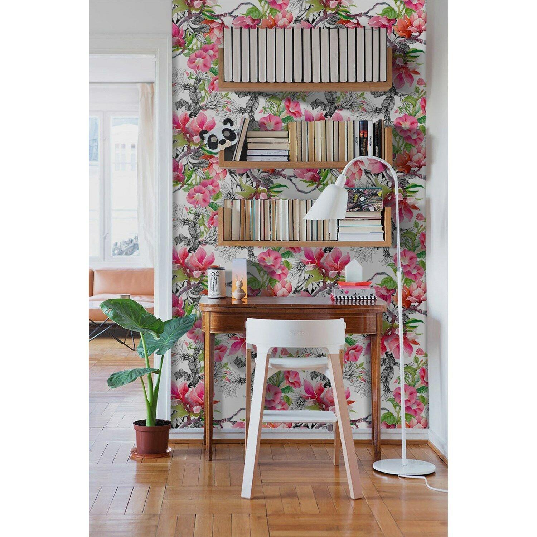 Removable wallpaper Summer garden Beautiful blooming flowers WaterFarbe