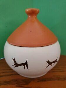 Mid Century Mod McCoy pottery Upjohn Unipet Pet Orange Treat Jar w/ Lid & Bell
