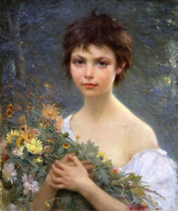 ZWYH281-hand-girl-portrait-handing-bunch-wild-flowers-art-oil-painting-on-canvas