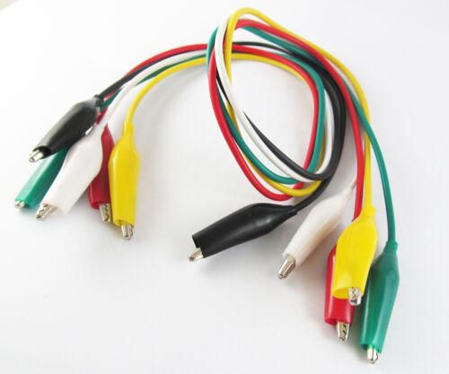 """Lote de 5 Colores Opcional Qty 46cm//18/"""" doble puente de cable de cocodrilo de doble puntas de prueba"""