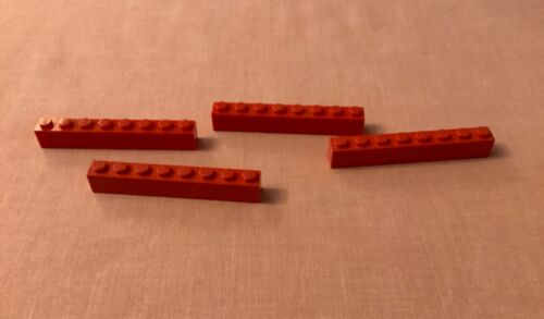 Red Brick 1x8 Pack of 4 LEGO Part no 3008