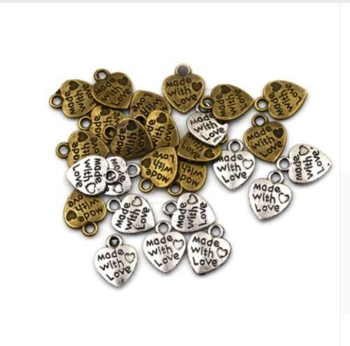 Free Ship 100Pcs Tibetan Silver Made with Love Coeur Charms Pendentif 9x11mm