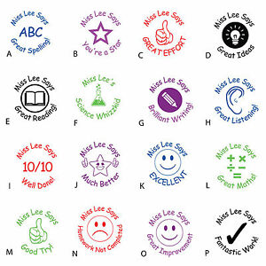 Teacher//School stamp Personalised Self Inking Rubber Assorted Designs /& Colours