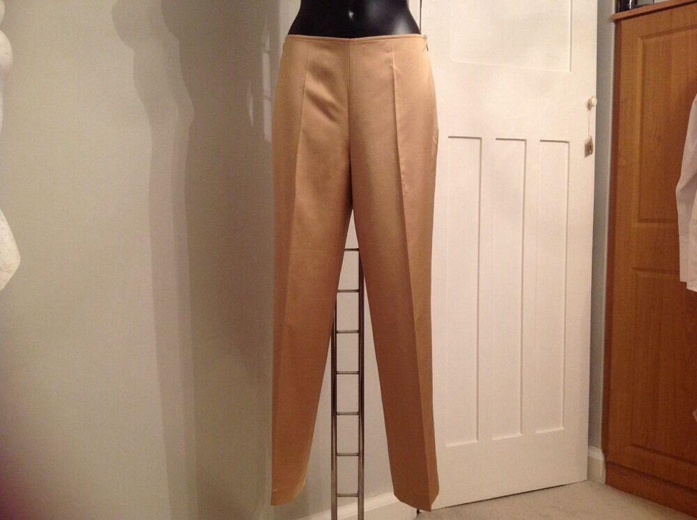 La Perla Trousers 44 Medium gold Wool Blend New Elegant Designer Italian