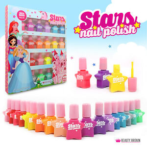 18 x Nail Polish Set Water Based Peel Off NonToxic Star Shaped Plastic B4B
