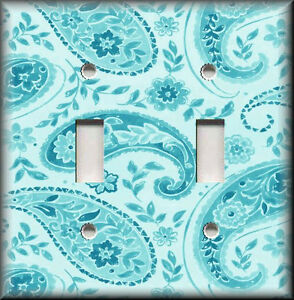 Image Is Loading Light Switch Plate Cover Decorative Floral Paisley Aqua