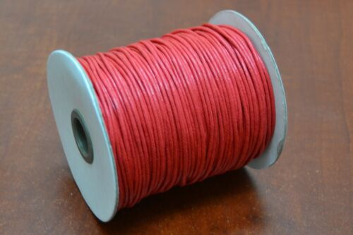100 METER RED WAXED COTTON BEADING CORD STRING ROLL 2MM #F-52I