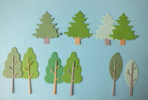 10 Tree die cut shapes assorted colours Embellishments Not Assembled Card topper
