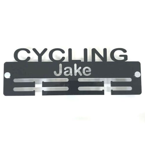 Personalised Cycling Medal Hanger - Many Colour Choices - Includes Fixings