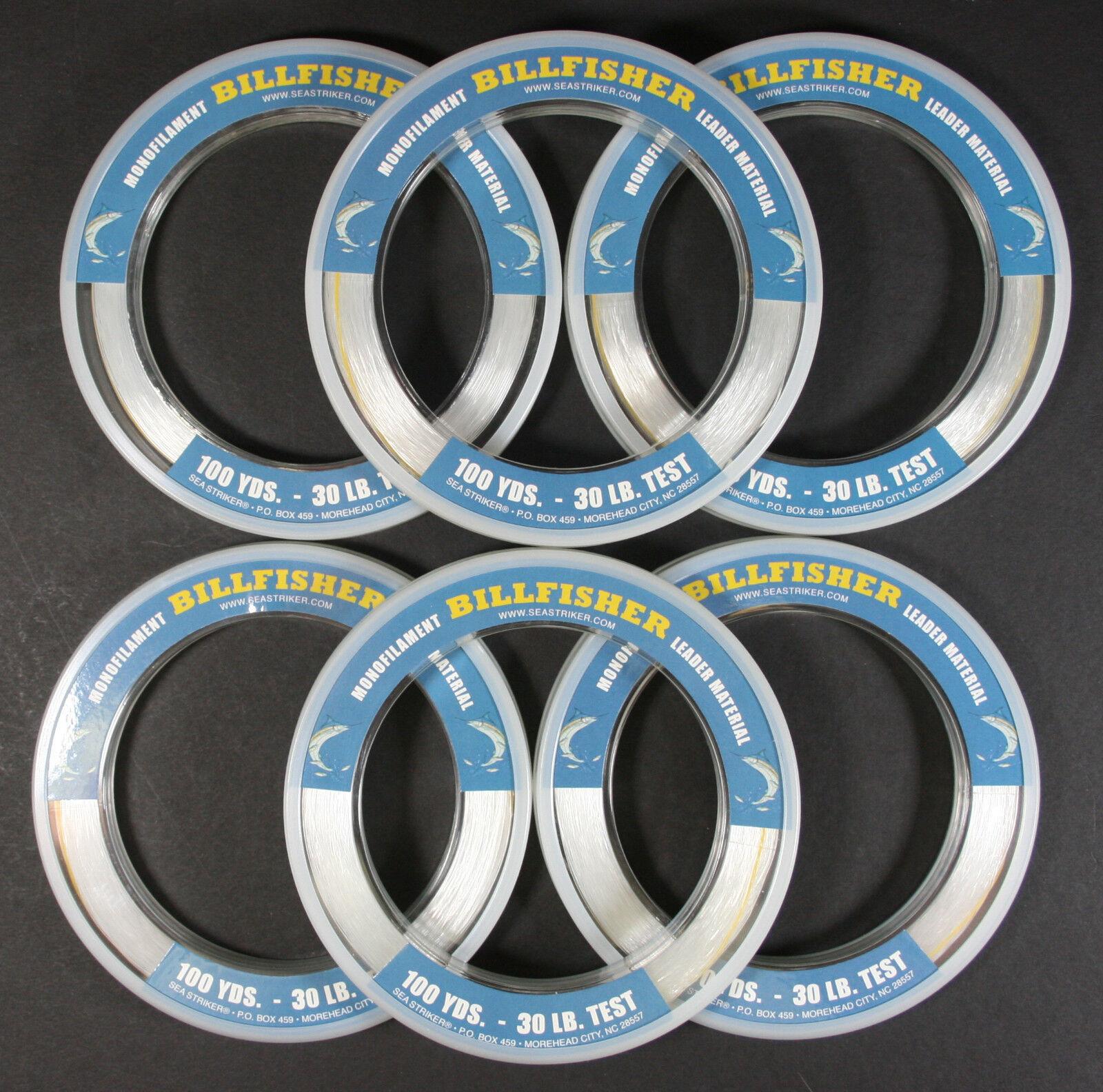Sea Striker Billfisher Monofilament  Leader Bracelet 30 Lb Test 100 Yds LOT OF 6  high discount