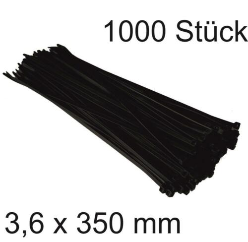 1000 Stück DKB Kabelbinder 3,6 x 350 mm schwarz Nylon Elektrozubehör