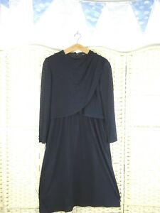 VINTAGE-Oriental-polyester-lined-navy-lacy-boho-mock-layer-granny-chic-dress-S