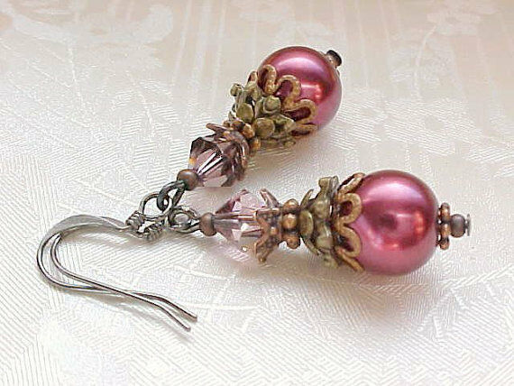 Cranberry Red Earrings Gothic Victorian Wedding Bridesmaid Wine Pearl Earrings
