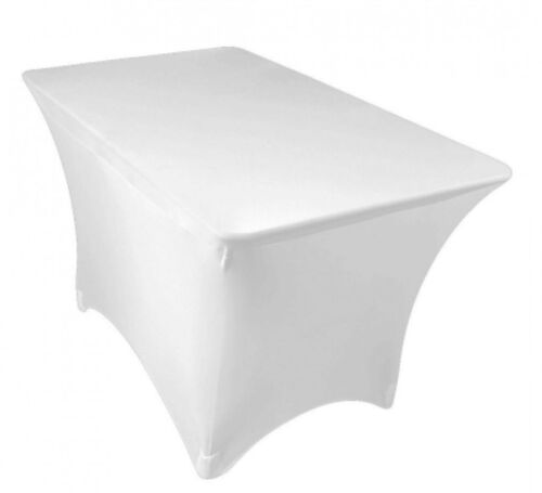 LYCRA SPANDEX 8FT RECTANGLE WHITE TABLECLOTHS  NO ARCH EVENTS CONFERENCES