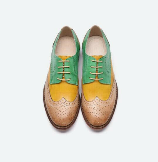 Womens Fashion Real Leather Brogue Mixed-colord Lace up Round Round Round Toe Low Top shoes ea9019