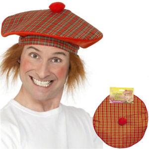 Scottish Fancy Dress Costume Scotsman Red Tartan Tam-O-Shanter Scots ... 0526b42120d7
