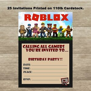 Image Is Loading Roblox Fill In Birthday Invitations Quantity Of 25
