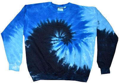 3XL 80/% Cotton Colortone Tie Dye Black Gray Spiral Crew Neck Fleece Adult S