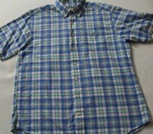 Vineyard-Vines-Tucker-Mens-Large-Shirt-Blue-Green-Check-Plaid-Button-down-Shirt