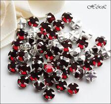 25 Swarovski ss20 Siam Dark Red Vintage Crystal Rose Montees Sew On sp 20ss