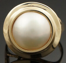 Elegant Retro Solid 14K Gold & 11.35 mm Mabe Pearl Lady's Estate Ring