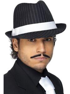 c971dee21a5 1920s 20s 20 s Gangster Hat Deluxe Trilby Fancy Dress Black White ...