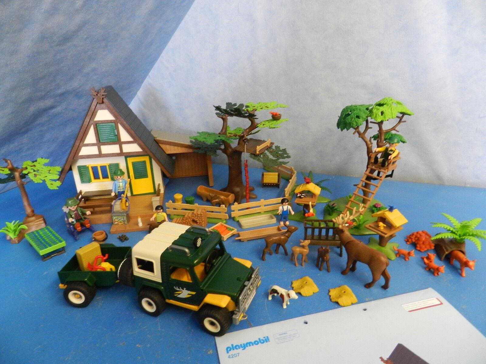 4207 Forsthaus 4206 Förster Jeep 4208 Wildfütterung  Vogelhaus Playmobil 6825