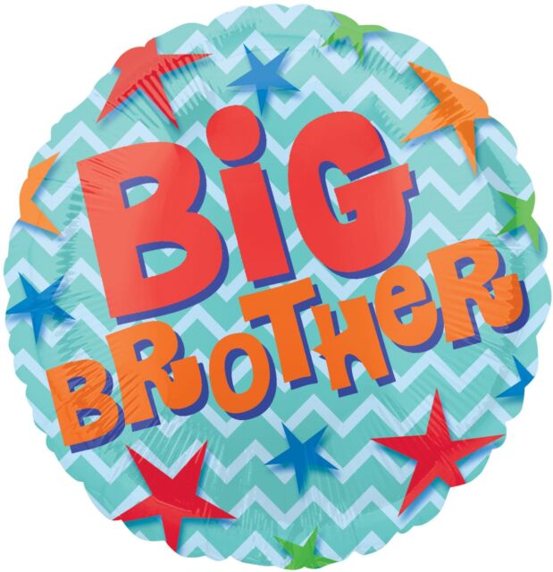 Chevron BIG BROTHER Stars Blue Baby Shower Boy/Girl Party Balloon