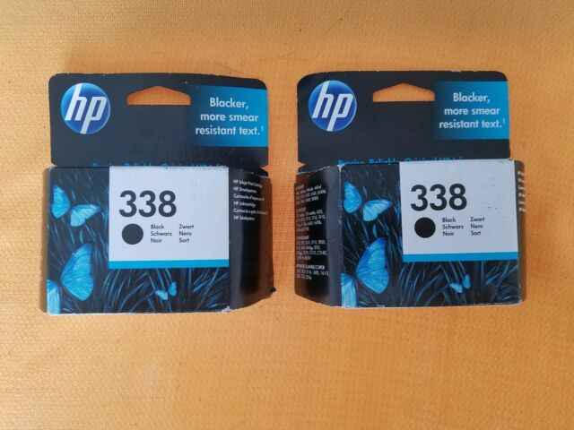Lot of 2 Genuine HP 338 C8765EE Black Ink 12/2017 Expiration New SEALED BOXES