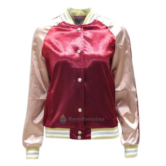 Women Retro Ladies Satin Bomber Jacket Vintage Summer Coat Flight Army Biker Hot