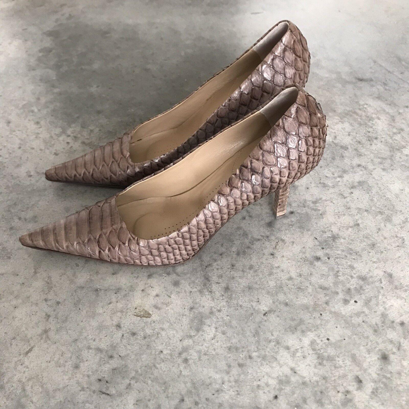 Dusica Dusica Snakeskin braun Leather Pointed Stilettos Pointy Heels SZ 37   7