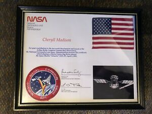 Space-Flown-American-USA-Flag-NASA-Atlantis-Shuttle-STS-37-5-x4-4-5-1991