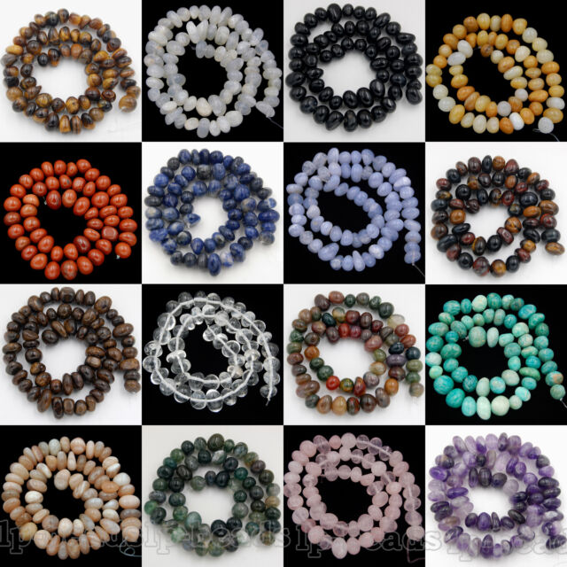 """8-11mm Natural Gemstones Spacer Loose Beads For Jewelry Make 7.5"""" Free shipping"""