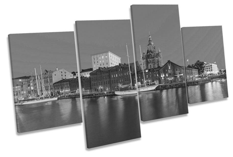 La Finlandia Helsinki City Skyline B&W B&W B&W CANVAS Wall Art Multi Box incorniciato 1ac7f7