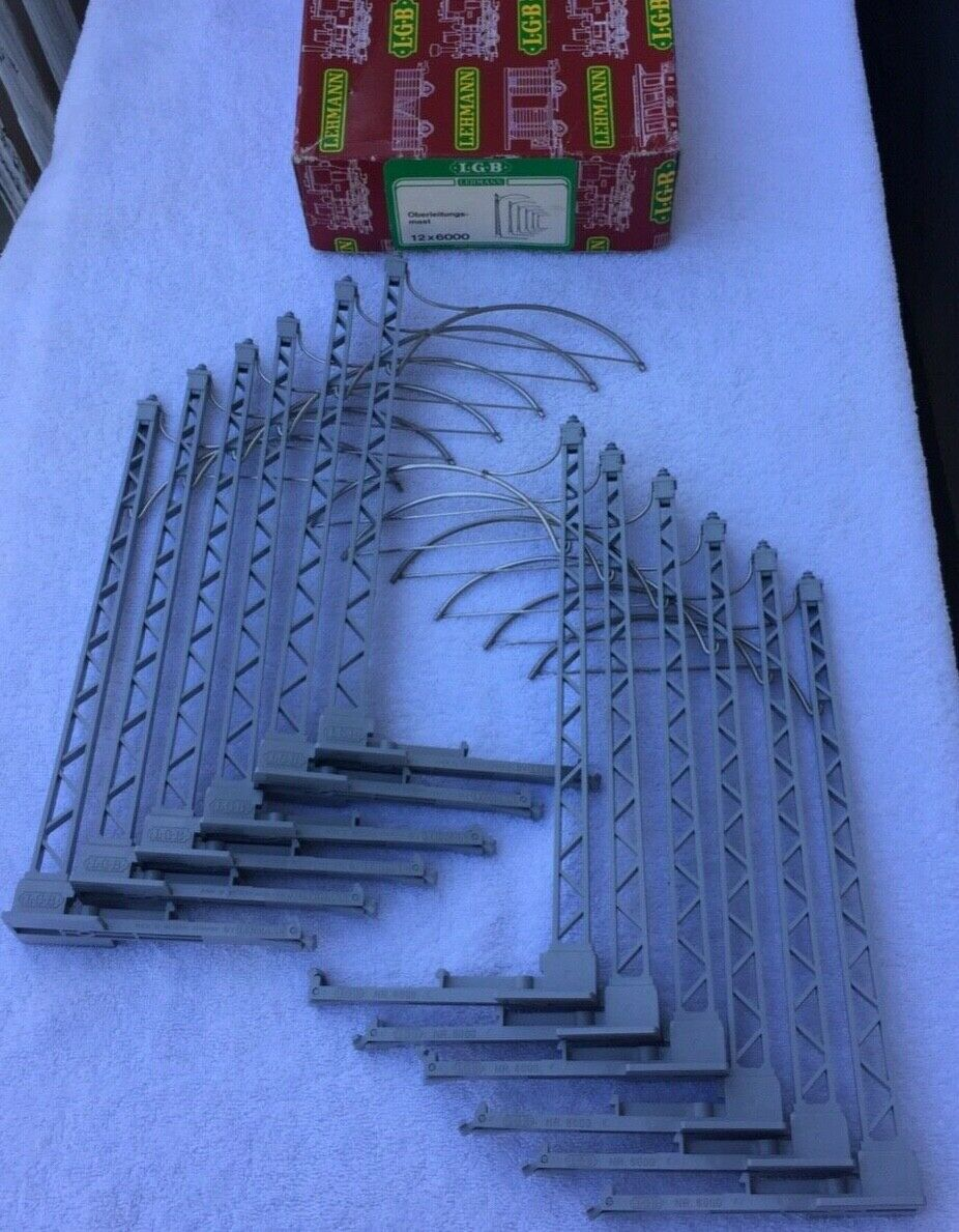 LGB No. 6000 Set of 12 Catenary Wire Masts in Original scatola  G Scale