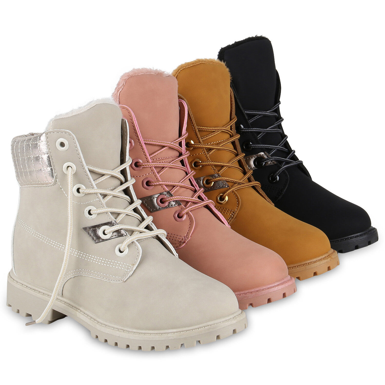 Damen Worker Boots Gesteppt Outdoor Gefütterte Stiefeletten 819439 Schuhe