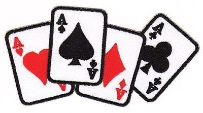 Au84 carte assi ricamate STAFFA immagine Patch applicazione POKER PICCHE CUORE QUADRI Croce