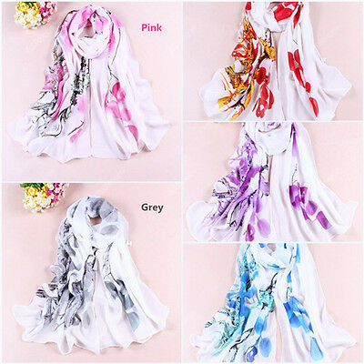 New Women Lady Chiffon Silk Flower Long Soft Neck Scarf Shawl Wrap Scarves 72