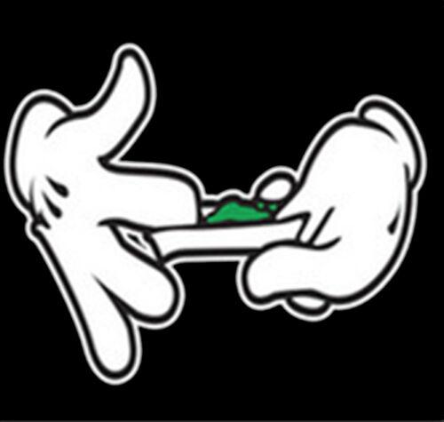 Mickey Mouse Cartoon Hands Rolling Weed Marijuana 420 Kush Funny T-Shirt Tee