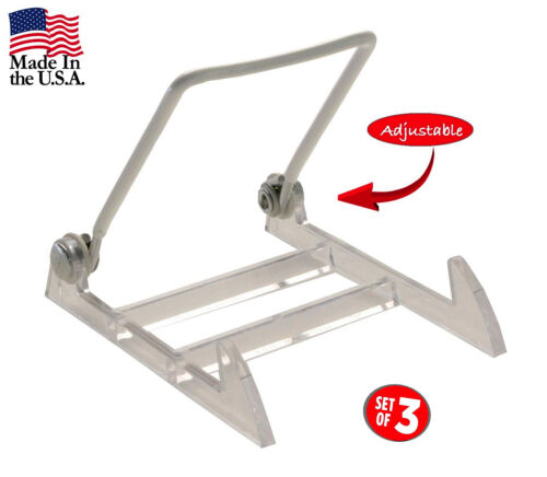 3-Pack Large White Gibson Holders 3PL Display Stand with Clear Base